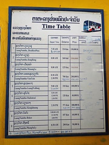 バスの時刻表(ルアンナムター新バスターミナル)