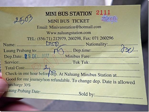 ルアンナムター行きのミニバスチケット