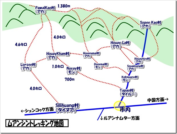 ムアンシンのトレッキングマップ